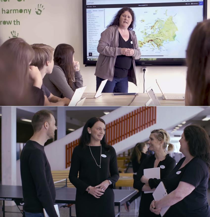 ▲ 스마트스쿨 기기를 이용해 수업을 진행 중인 스웨덴 교사들의 모습