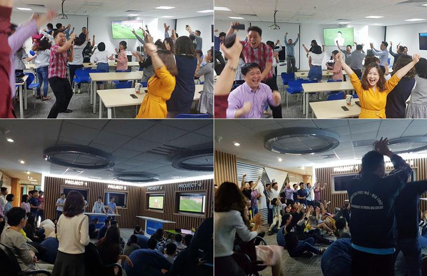 ▲삼성전자 베트남 복합단지에 근무하는 임직원들은 AFC U-23 챔피언십 기간 내내 회의실과 기숙사, 영화관 등에서 저마다 열띤 단체 응원을 펼쳤다. 위 사진은 결승 진출이 확정된 후 환호하는 임직원들의 모습