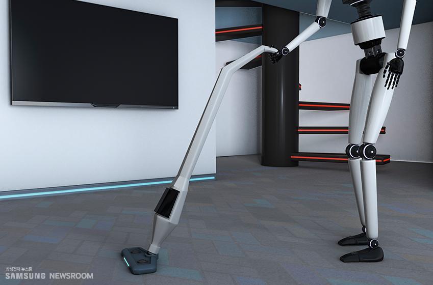 휴머노이드 로봇이 청소하고 있는 모습