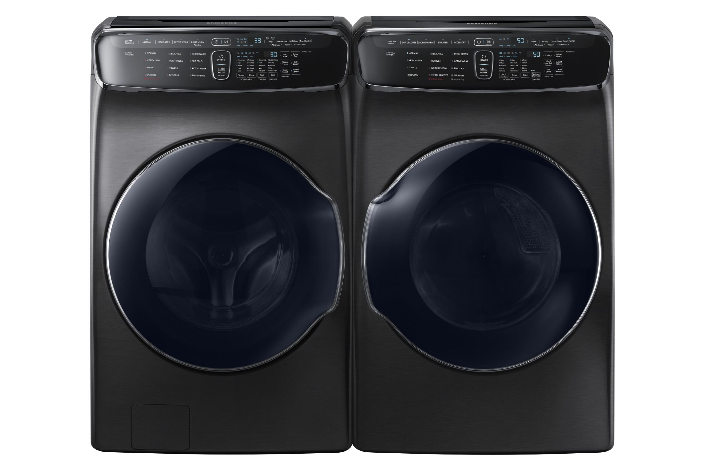 사진은 KBIS 2018 어워드 '최고의 주방 제품' 은상을 수상한 '플렉스워시' 세탁기(좌)와 '플렉스드라이' 건조기(우) 제품사진