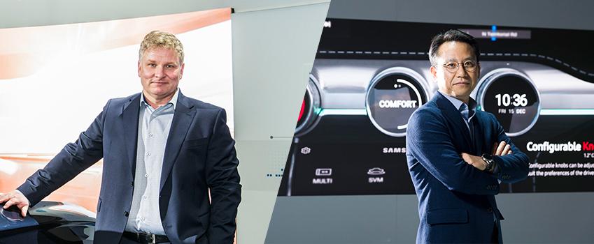 하만 커넥티드카 부문 부장 마이크 피터스 (Mike Peters) (왼쪽)와 삼성전자 전장개발전략그룹 이원식 전무(오른쪽)
