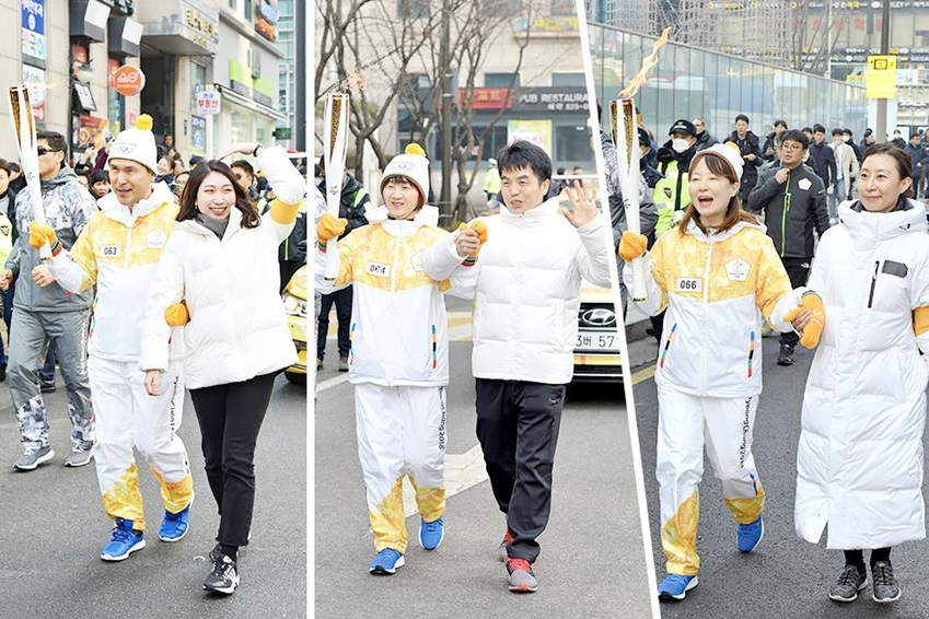 ▲ 가족∙지인과 함께 성화봉송에 참여한 김병호 과장과 김순화∙김태연씨(왼쪽부터)