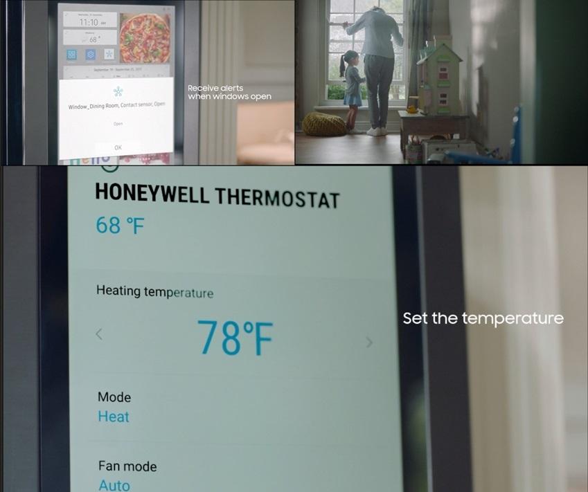 Set the temperature / 패밀리허브를 통해 실내외 온도 체크 가능
