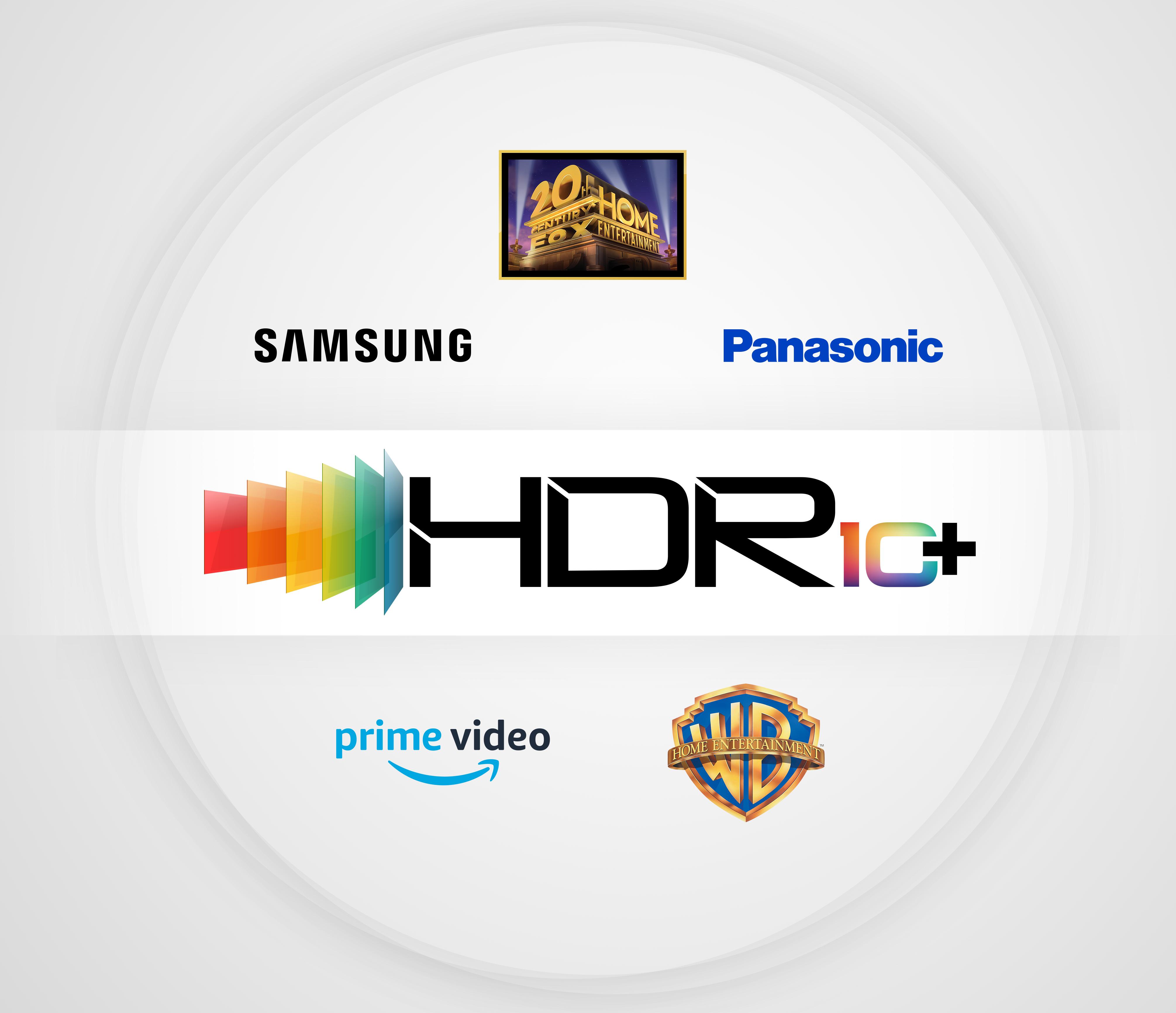 HDR10+ 인증 로고와 HDR10+ 진영에 합류한 5개 회사의 로고- 삼성전자, 파나소닉, 20세기폭스, 아마존(프라임 비디오), 워너브라더스