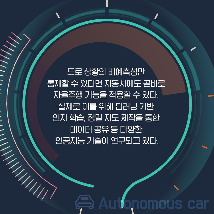 도로 상황의 비예측성만 통제할 수 있다면 자동차에도 곧바로 자율주행 기능을 적용할 수 잇다. 실제로 이를 위해 딥러닝 기반 인지 학습, 정밀 지도 제작을 통한 데이터 공유 등 다양한 인공지능 기술이 연구되고 있다.