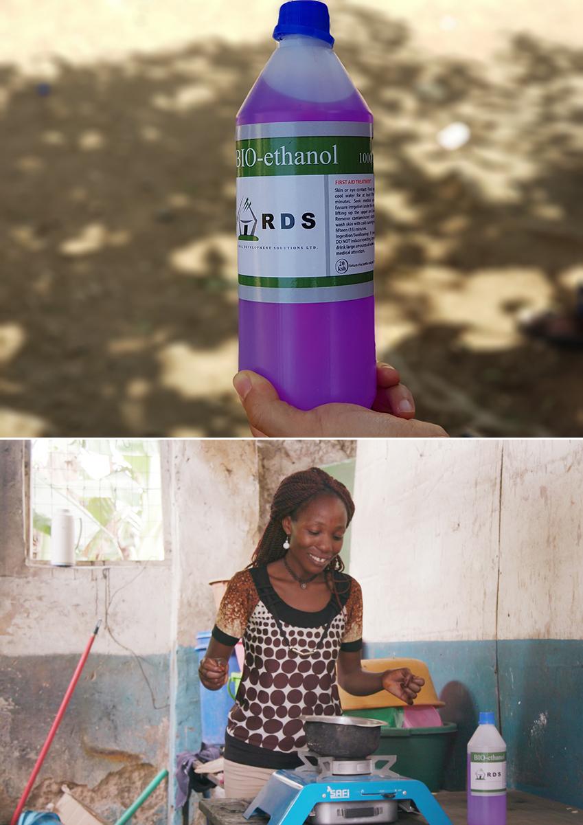▲ 100케냐실링(약 1,000원)의 바이오에탄올 한 병(1리터)을 5~6일 간 사용할 수 있다
