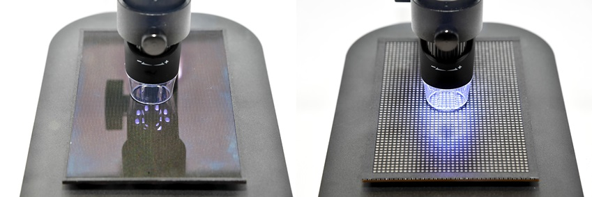 ▲퍼스트룩 현장에 별도로 마련된 부스에서는 (왼쪽부터) 마이크로 LED, Conventional LED를 눈으로 직접 보고 비교해볼 수 있다