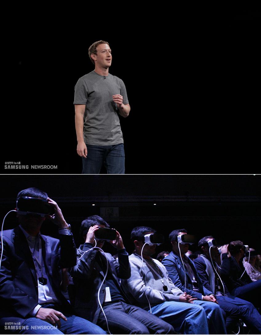 ▲2016년 스페인 바르셀로나에서 열린 '갤럭시언팩 2016(GALAXY UNPACKED 2016)' 행사장에선 기어 VR을 착용한 5000여 명의 관중 사이로 마크 저커버그페이스북 CEO가 깜짝 등장, 눈길을 끌었다