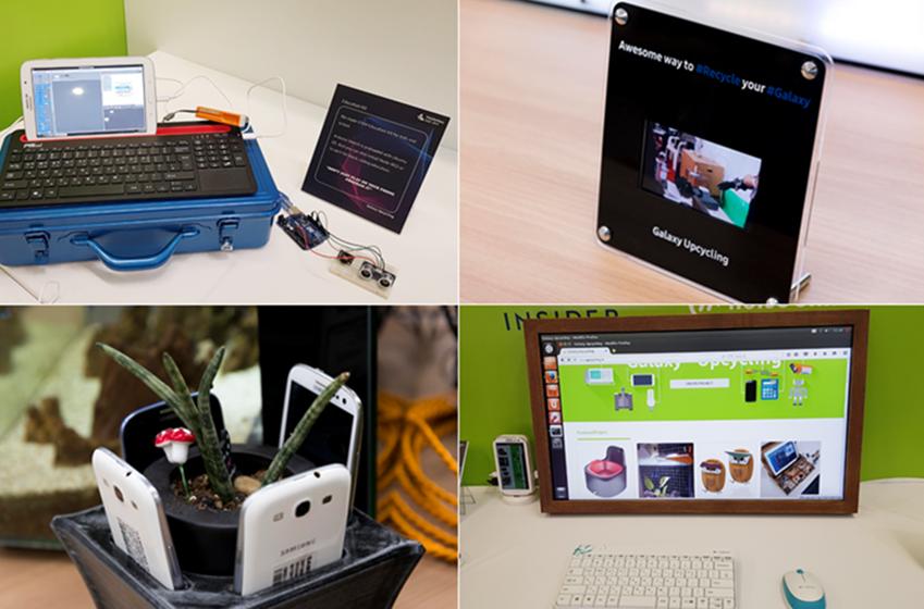▲갤럭시업사이클링 팀원들의 사무실 곳곳에 자리 잡은 프로젝트 결과물. (왼쪽 위부터 시계 방향으로) 교육용 키트, 소형 디지털 사이니지, 리눅스 데스크톱, 스마트 화분