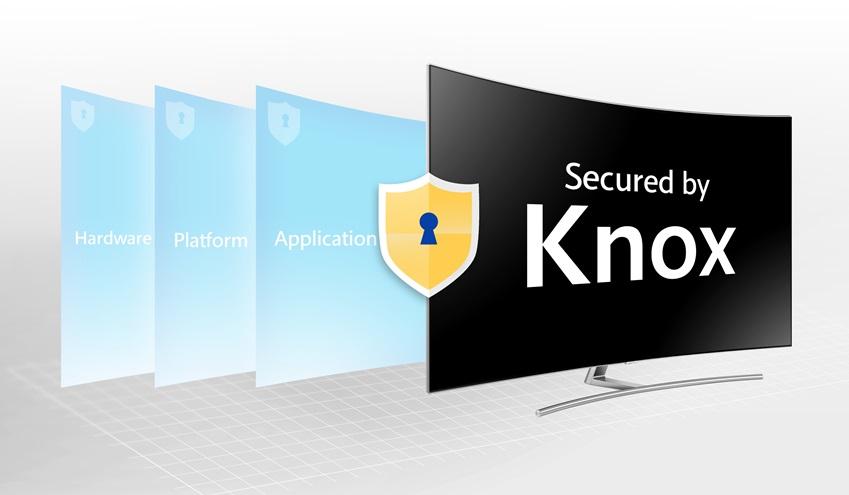 삼성전자는 3년 연속으로 TV업계의 유일한 국제공통평가기준 CC(Common Criteria)로부터 보안성 인증을 받았으며, 더불어 TV를 이용한 지불결제 서비스 관련 보안 인증인 'PCI DSS(Payment Card Industry Data Security Standard)'도 획득했다. 삼성전자는 올해부터 2015년형 이후에 생산된 스마트 TV 전 라인업에 펌웨어 업데이트를 통해 자사 보안 기술인 녹스(Knox)를 적용해 해킹 등 보안 위협으로부터 소비자를 보호하는데 노력을 기울이고 있다. 사진은 삼성전자 보안 기술 '녹스'가 적용된 삼성 스마트 TV