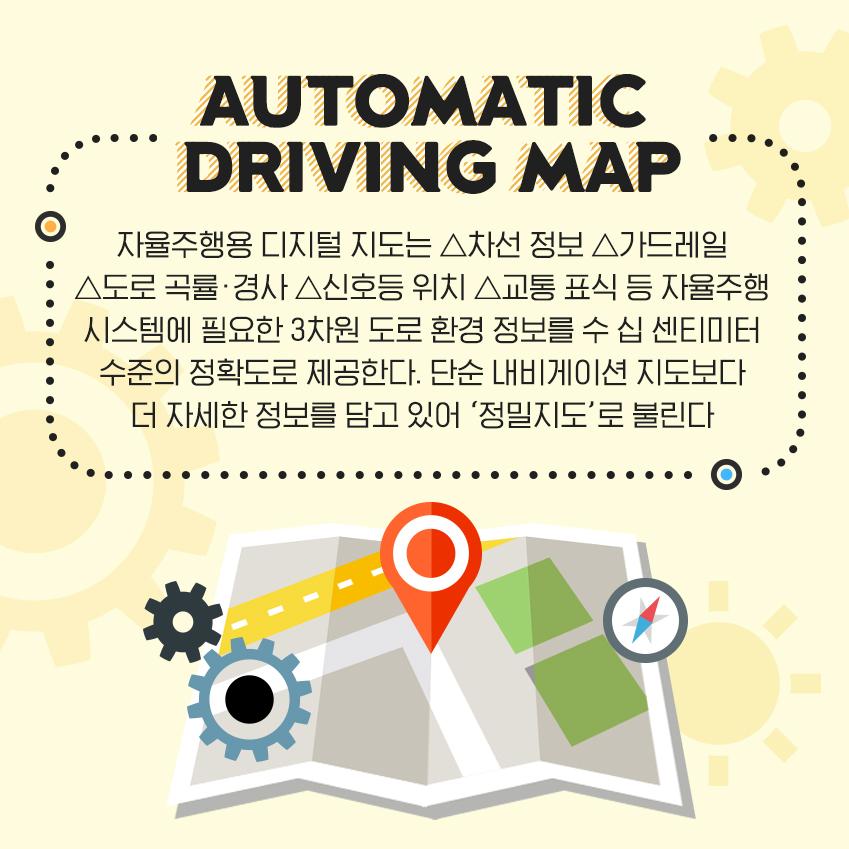 자율주행용 디지털 지도는 △차선 정보 △가드레일 △도로 곡률•경사 △신호등 위치 △교통 표식 등 자율주행 시스템에 필요한 3차원 도로 환경 정보를 수 십 센티미터 수준의 정확도로 제공한다. 단순 내비게이션 지도보다 더 자세한 정보를 담고 있어 '정밀지도'로 불린다