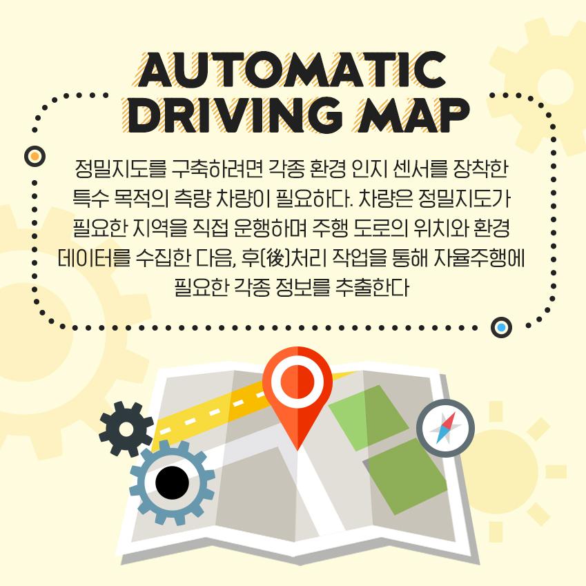 정밀지도를 구축하려면 각종 환경 인지 센서를 장착한 특수 목적의 측량 차량이 필요하다. 차량은 정밀지도가 필요한 지역을 직접 운행하며 주행 도로의 위치와 환경 데이터를 수집한 다음, 후(後)처리 작업을 통해 자율주행에 필요한 각종 정보를 추출한다