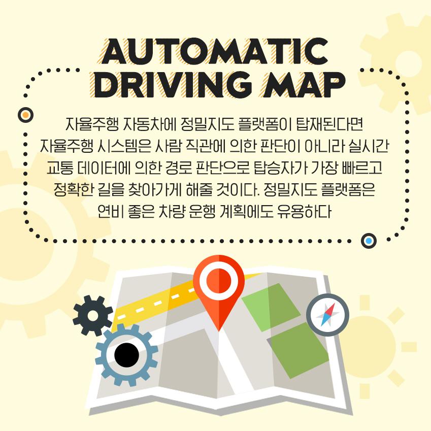 자율주행 자동차에 정밀지도 플랫폼이 탑재된다면 자율주행 시스템은 사람 직관에 의한 판단이 아니라 실시간 교통 데이터에 의한 경로 판단으로 탑승자가 가장 빠르고 정확한 길을 찾아가게 해줄 것이다. 정밀지도 플랫폼은 연비 좋은 차량 운행 계획에도 유용하다.