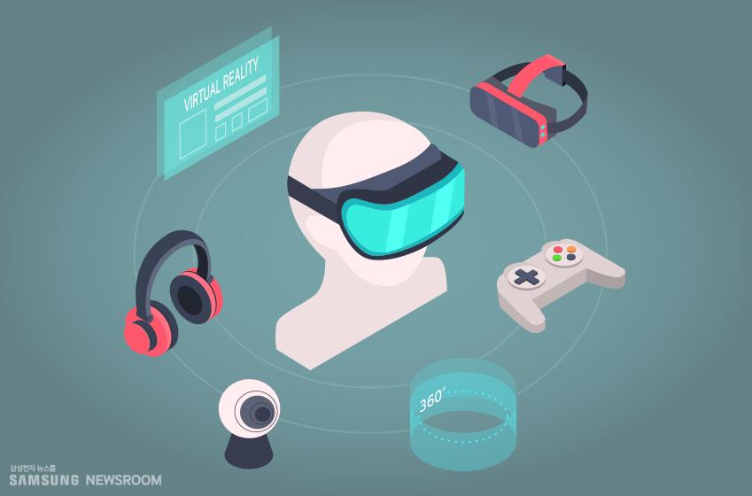 VR 착용한 모습 및 가상현실 도구들