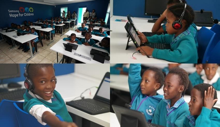 ▲스마트스쿨 교실에서 수업을 받고 있는 미셸줄루 초등학교 학생들. 하나같이 표정이 밝다