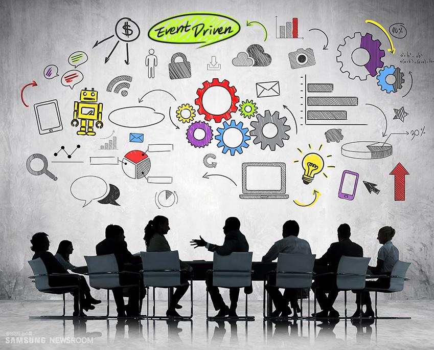 Event Driven 사람들이 회의하는 모습