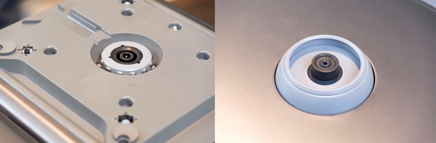 ▲큐브는 별도의 도구나 장치 없이도 두 제품을 쉽게 연결해 사용할 수 있다. 연결부 주변에 있는 12개의 스테인리스 볼은 반대편 연결부 고무링 안쪽으로 숨어 들어간다. 이 덕분에 수직 방향으로 일정한 힘을 가하기 전까지는 쉽게 분리되지 않는다