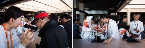 삼성 패럴림픽 쇼케이스에서 저시력인들이 갤럭시 S9을 체험하고 있다