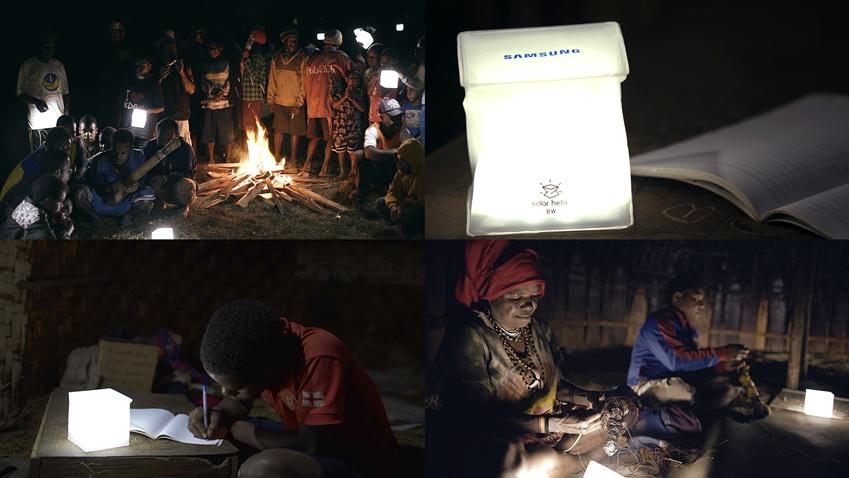 ▲삼성전자가 기부한 LED 태양광 랜턴으로 띠옴마을 주민들의 저녁은 몰라보게 환해졌다