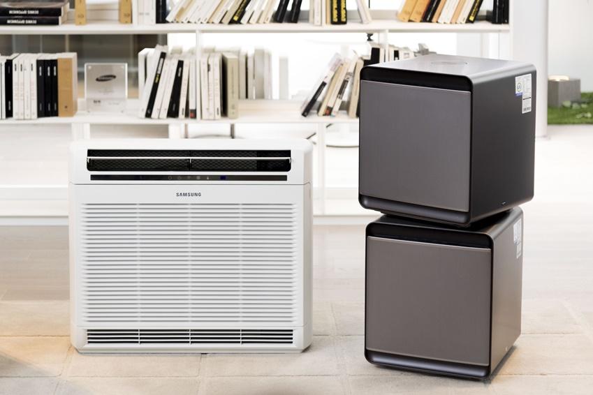 ▲(왼쪽부터) 벽걸이용 '블루스카이 4000'과 모듈형 디자인으로 원하는 공간에 따로 또 같이 사용 가능한 삼성 큐브(CUBE)