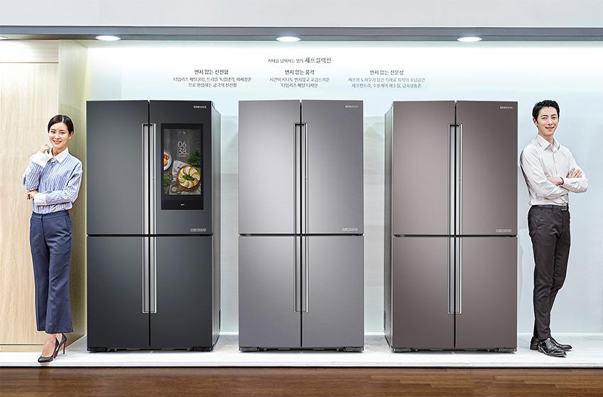 모델사진. 좌측부터 셰프컬렉션 냉장고 혼드블랙, 혼드실버, 혼드브라운(신규컬러)