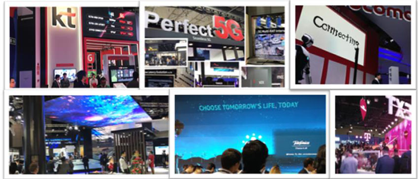 ▲MWC 2018 행사장에서 찾아볼 수 있었던 세계 각국 이동통신사 5G 서비스 부스들(왼쪽 위부터 시계 방향으로) KT∙SK텔레콤∙NTT도코모(NTT Docomo)∙차이나모바일(China Mobile)∙텔레포니카(Telefonica) ∙T모바일(T mobile)