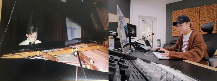 ▲피아노를 좋아하던 소년은 어느덧 전문 작업실에서 노래를 만들고 부르는 싱어송라이터로 성장했다