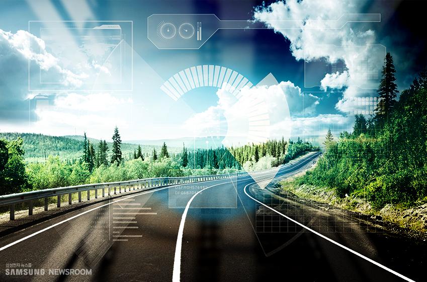 운전자(사람)의 운행 방식을 데이터로 수집, 시뮬레이터화된 전면 주행 화면