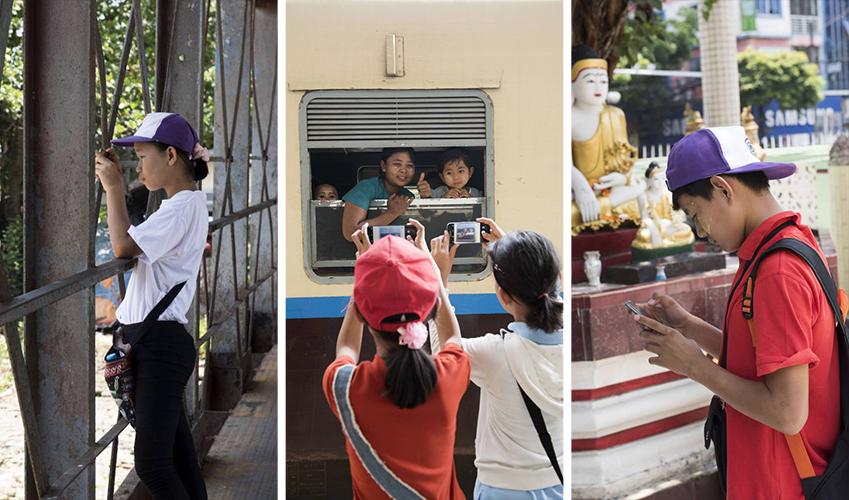 ▲'사일런트 양곤' 프로젝트에 참여한 청각장애 어린이들은 삼성 스마트폰으로 양곤 시민과 시내 풍경을 다양하게 담아냈다