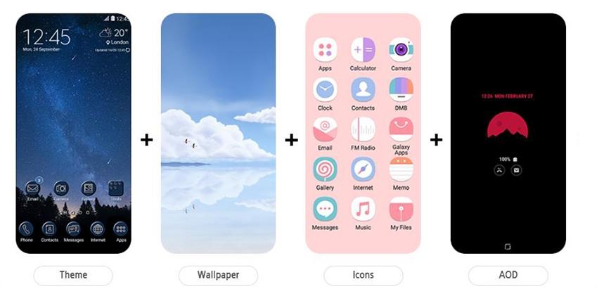 테마와 월페이퍼 아이콘 AOD를 각각 다르게 적용한 모습