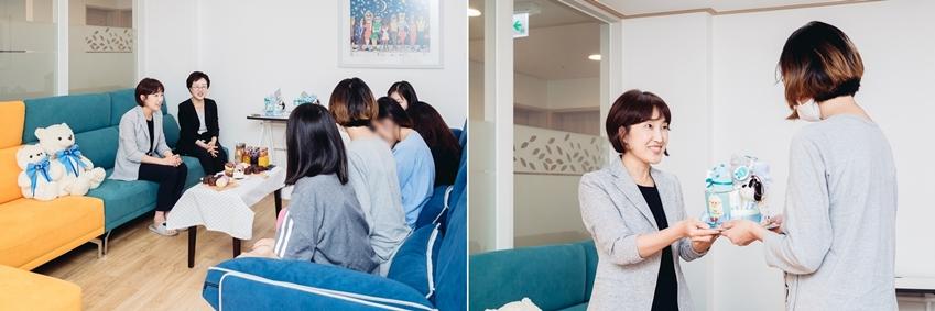 삼성전자 생활가전사업부 김현숙 상무는 미혼한부모들이 가지고 있는 육아에 대한 고민을 듣고 경험을 공유하는 시간을 가졌다