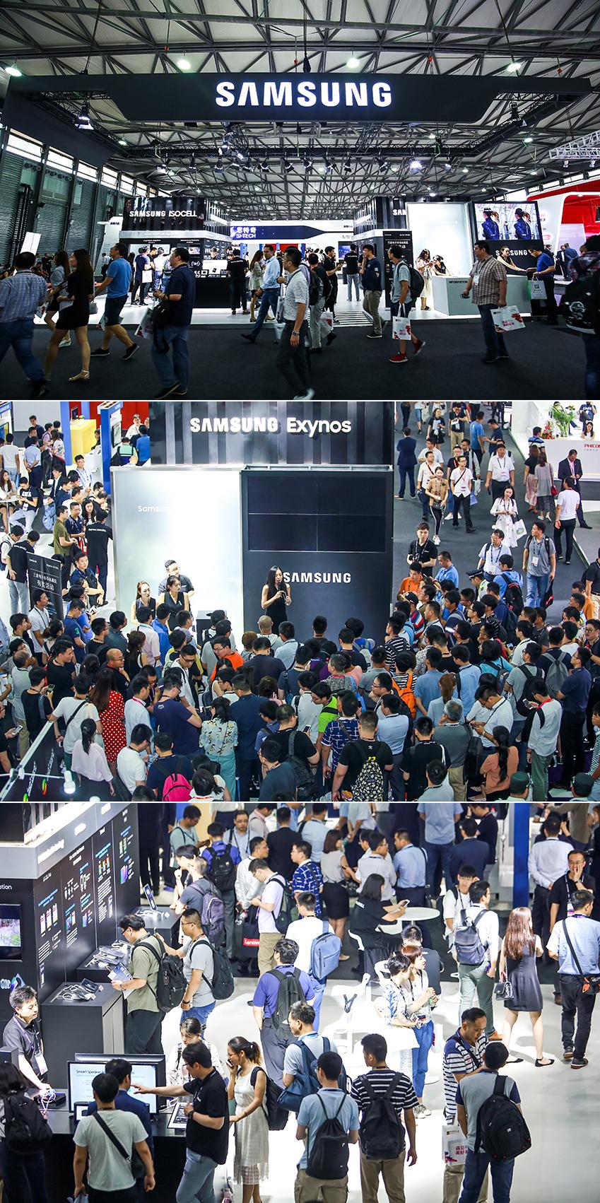 ▲ 수많은 글로벌 관람객으로 발 디딜 틈 없는 삼성전자 전시관의 모습