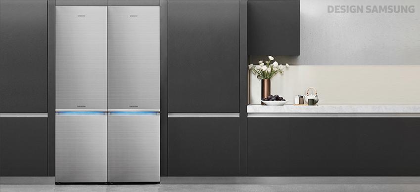 플랫 디자인 냉장고 주방 전경
