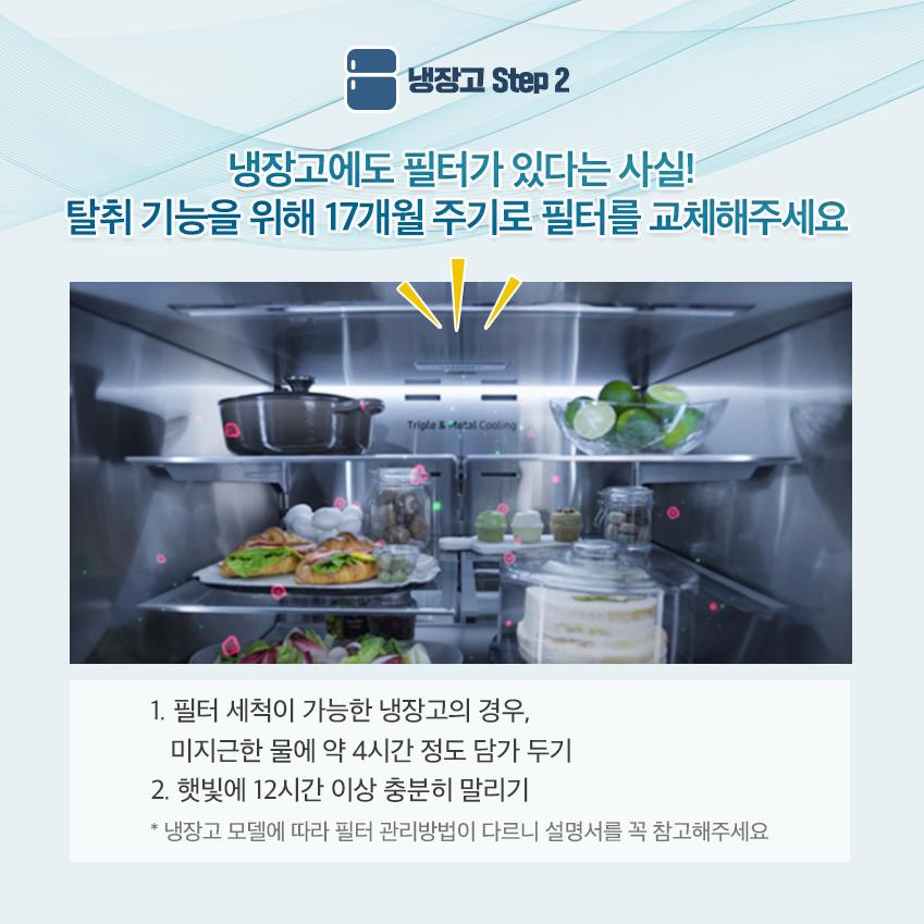 냉장고에도 필터가 있다는 사실! 탈취 기능을 위해 17개월 주기로 필터를 교체해주세요. 1ㅣ필터 세척이 가능한 냉장고의 경우 미지근한 물에 약 4시간 정도 담가두기2. 햇빛에 12시간 이상 충분히 말리기
