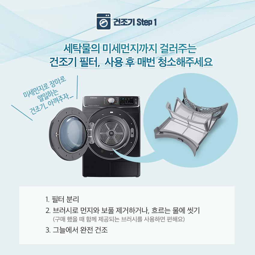 세탁물의 미세먼지까지 걸러주는 건조기 필터, 사용 후 매전 청소해주세요. 1. 필터 분리 2. 브러시로 먼지와 보풀 제거하거나, 흐르는 물에 씻기 3. 그늘에서 완전 건조