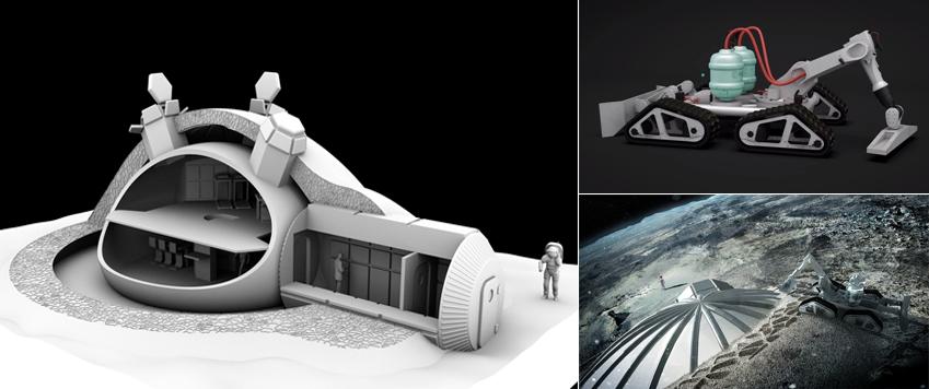 ESA가 기획 중인 '3D프린팅 우주기지' 개념도(왼쪽 사진)과 기지 건설에 쓰일 3D프린터