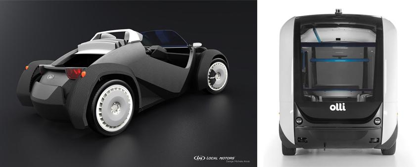 ▲로컬모터스가 공개한 전기차 '스트라티'(왼쪽 사진)와 자율주행 소형 버스 '올리'. 둘 다 3D프린팅 기술로 완성됐다