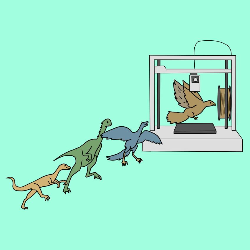 3d프린터로 새, 공룡을 만드는 모습