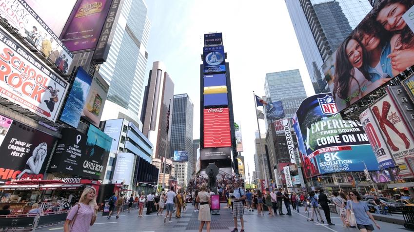 미국 뉴욕 타임스퀘어 옥외광고 모습