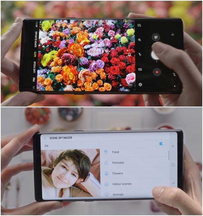 갤럭시 노트 9 카메라 화면 상단의 꽃 이미지와 하단의 여성 이미지