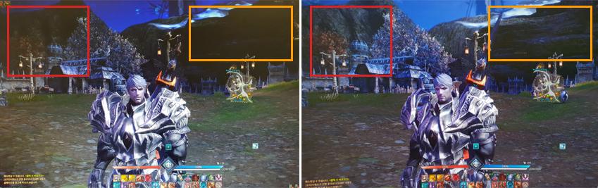 RPG 게임 테라(Tera)를 실행했을 때 일반 모니터(좌)와 CJG5(우)의 화면 비교.