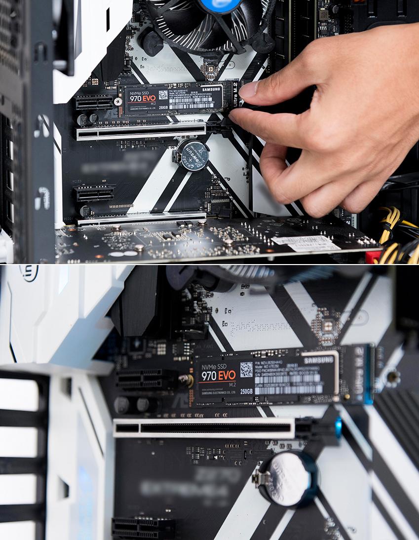 ▲ 설치도 간단하다. 별도의 케이블 없이, M.2 슬롯에 제품을 장착하면 끝. 왼쪽편 나사홀에 나사를 감아서 고정시켜주면 된다. 이때 메인보드의 M.2 슬롯이 NVMe 인터페이스를 지원하는지 사전에 확인해야 한다