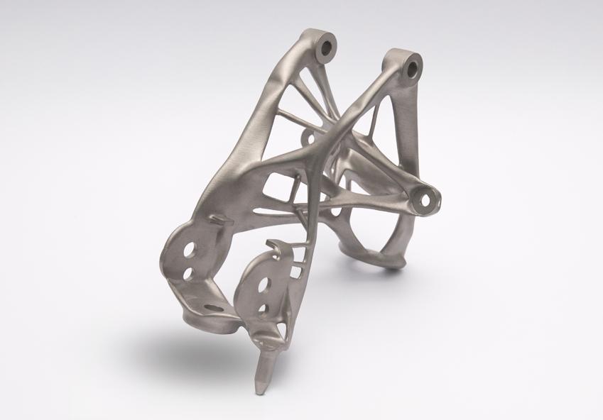 GM이 오토데스크와 공동으로 개발한 자동차 안전벨트 브래킷(bracket, 비교적 커다란 부품을 장착하거나 받치기 위해 설치되는 연결용 부품). 생성적 디자인(generative design)이 적용된 부품이다(생성적 디자인에 대해 좀 더 자세히 알고 싶으면 여기 클릭)
