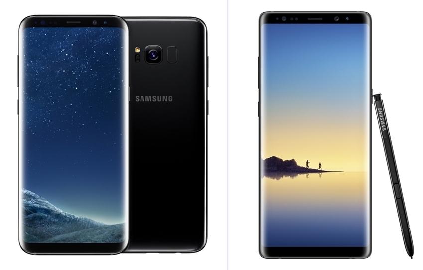 갤럭시 S8(왼쪽)과 갤럭시 노트8(갤럭시 S8∙S8+와 갤럭시 노트8, 동상)