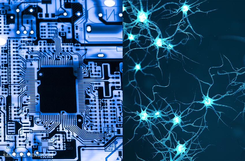 인공지능 시스템 구조도(사진 왼쪽)와 인간 신경망. 전자는 칩셋 이, 후자는 뉴런 이 각각 단위를 이룬다
