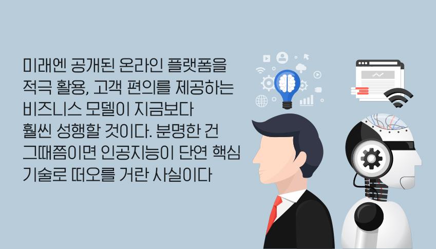 미래엔 공개된 온라인 플랫폼을 적극 활용, 고객 편의를 제공하는 비즈니스 모델이 지금보다 훨씬 성행할 것이다. 분명한 건 그때쯤이면 인공지능이 단연 핵심 기술로 떠오를 거란 사실이다