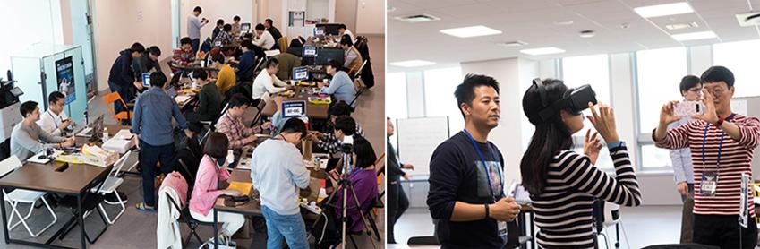 ▲해커토너들이 삼성 기어 VR, 태블릿 PC 등 다양한 기기를 통해 아이디어를 구현하고 있다