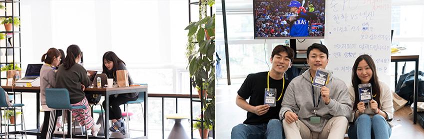 ▲수면 바지•삼선 슬리퍼 등 재기발랄한 모습으로 해커톤을 즐기고 있는 서울대학교 학생들(왼쪽 사진). 마치 시험기간을 연상케 하는 모습이다