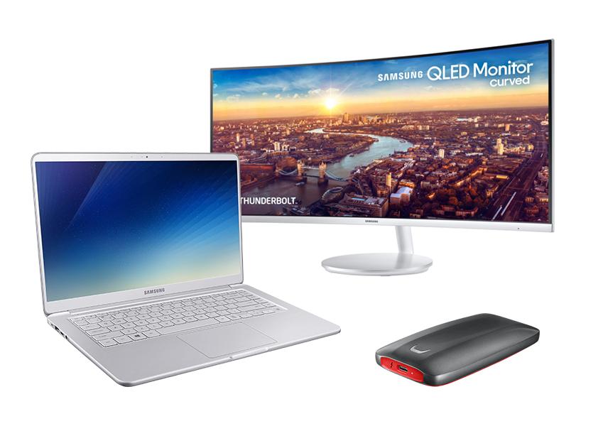 썬더볼트 3를 탑재한 2018년형 노트북9 올웨이즈, 'QLED 커브드 모니터' 삼성전자 CJ791, '초고속 포터블 SSD' 삼성전자 X5