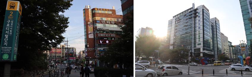 제가 기술 명장의 꿈을 키우며 오갔던 구로디지털단지역 2번 출구(왼쪽 사진)입니다. 고 김영상 명장님의 집무실이 있던 건물 풍경도 그새 많이 바뀌었네요